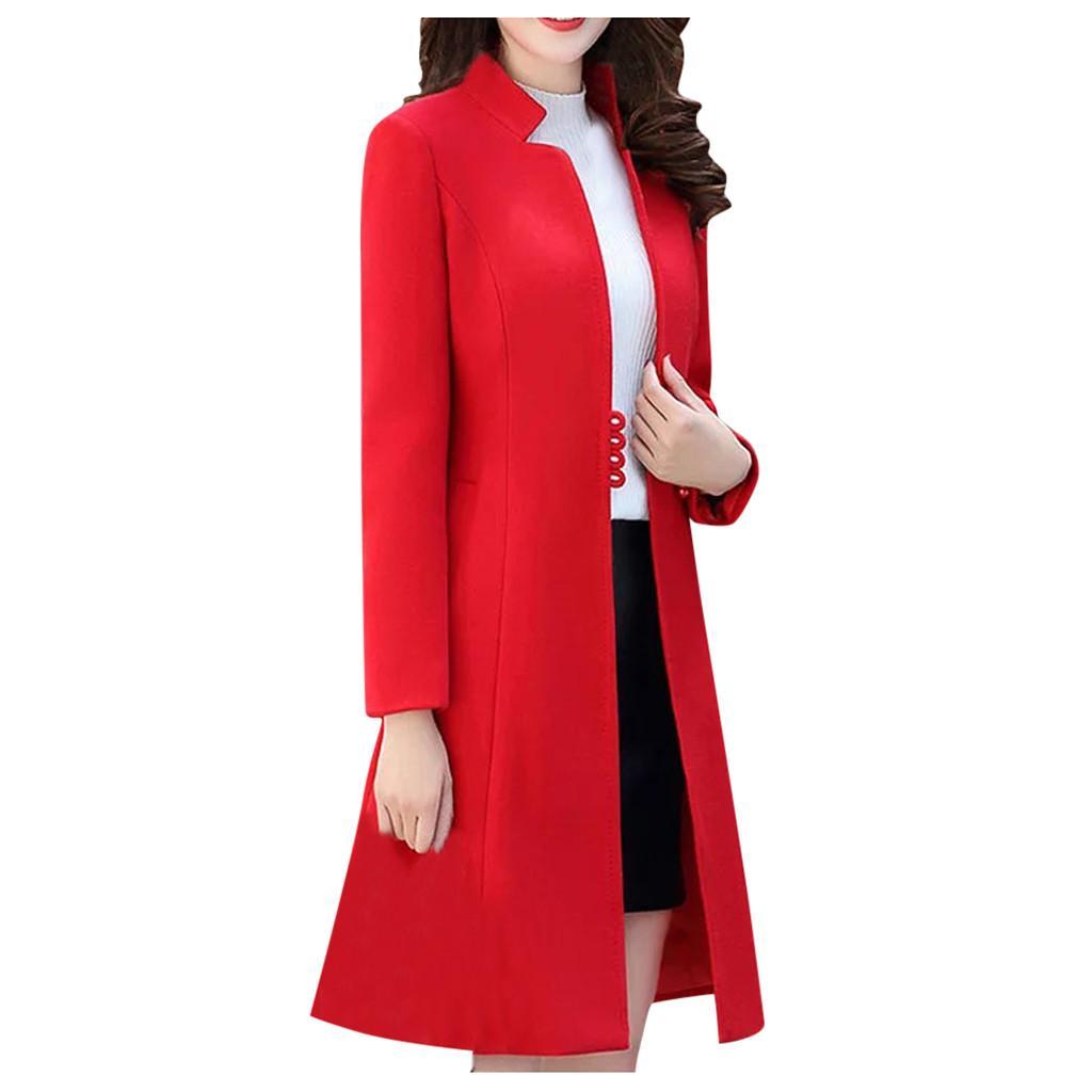 Winter Fashion dünner Mantel-Frauen Langarm-beiläufige Mittel lange dünner Mantel Mode Winter Frauen weichen