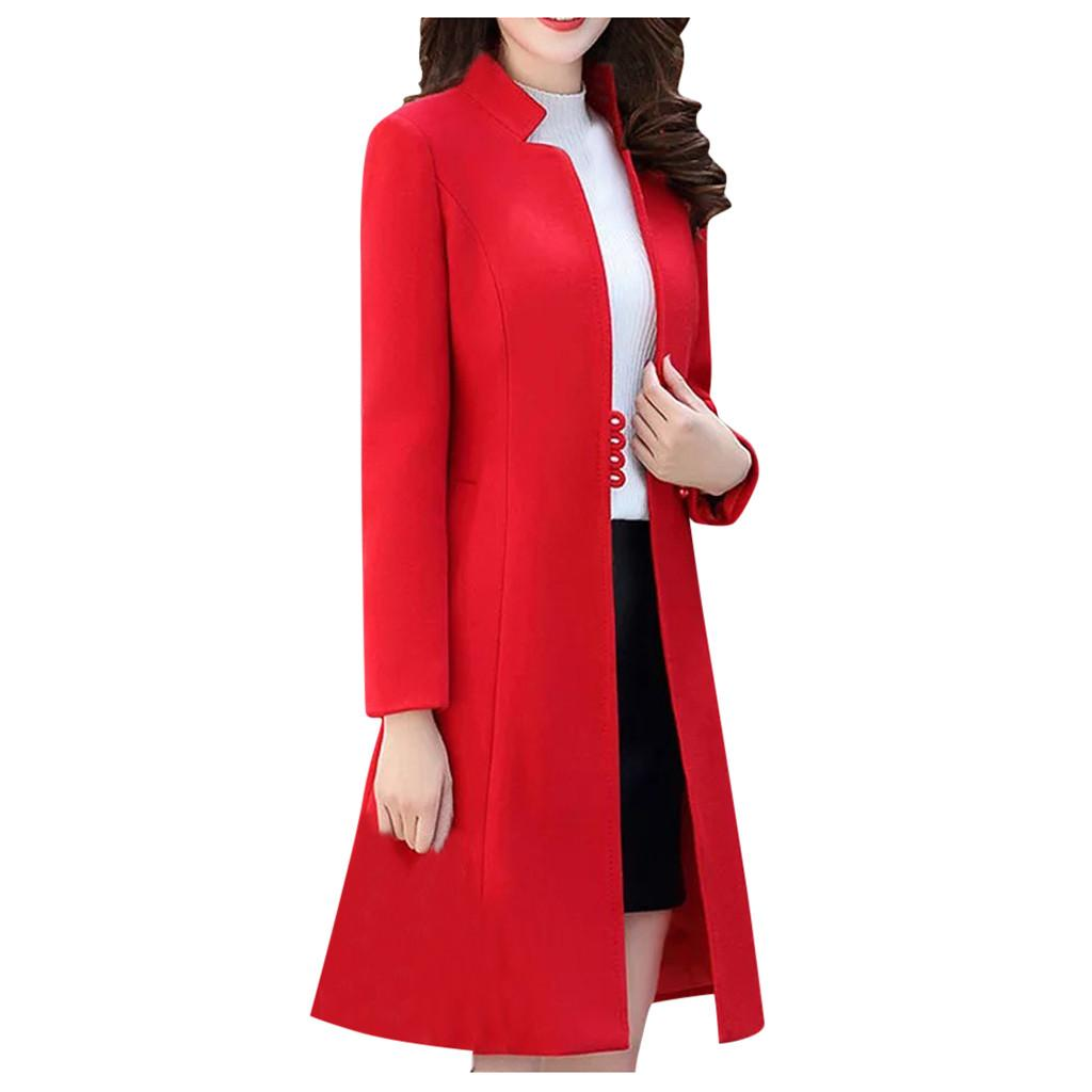 Escudo invierno de la manera delgada de las mujeres de manga larga ocasional de las mujeres capa de la manera invierno Medio Largo delgados suaves