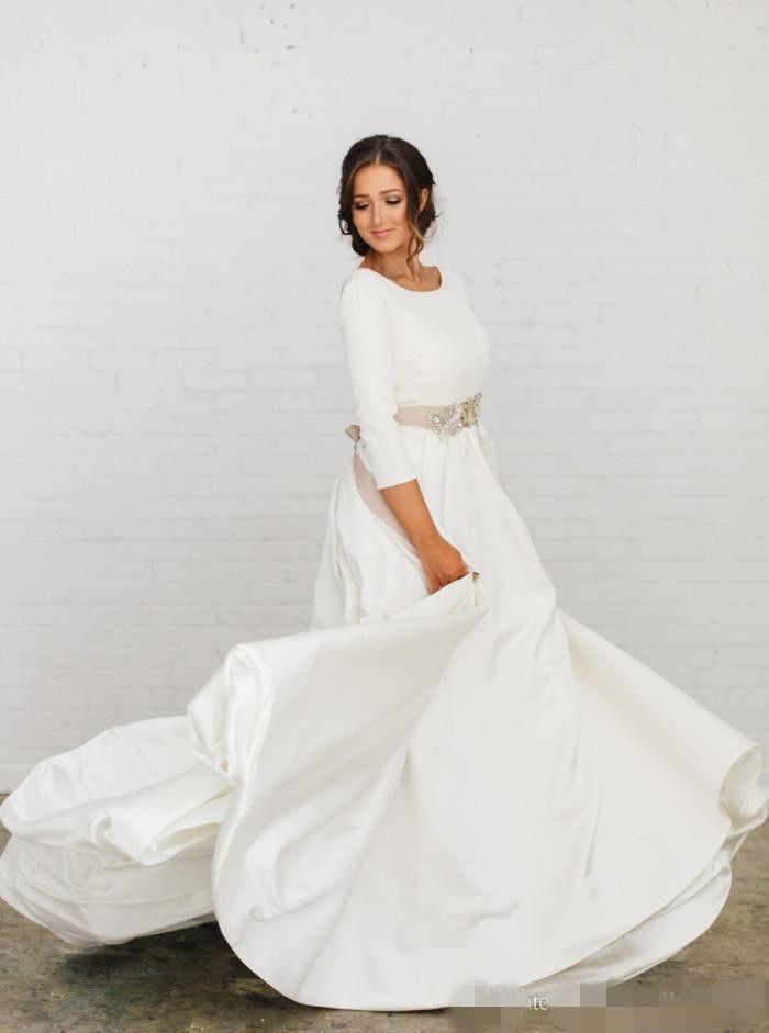 2020 El más reciente cinta de Rose boda del país de los vestidos de Dusty Banda moldeada cristalina simple sin respaldo 3/4 de manga larga vestido de boda Hochzeitskleid
