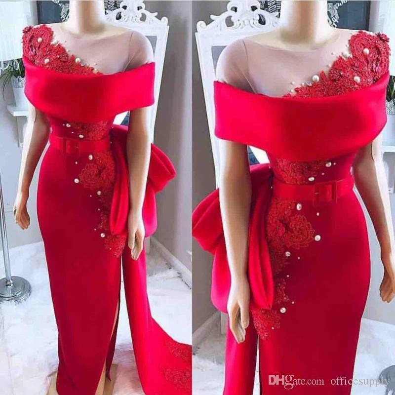 2020 Árabe Vermelho Vestidos de Noite Sheer Pescoço Curva Sash Laço Applique Frisado Pérolas Bainha Sala de Cetim Split Split Formal Formal Festa Prom Vestido