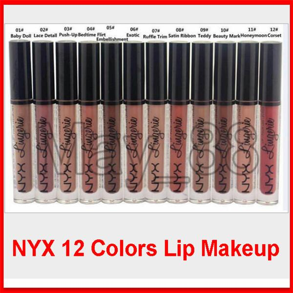 2020 NYX Lip Lingerie Liquid Matte Lip Cream Lipstick 12 Colors Charming Long-lasting Brand Makeup Lipsticks Lip Gloss Free Shipping