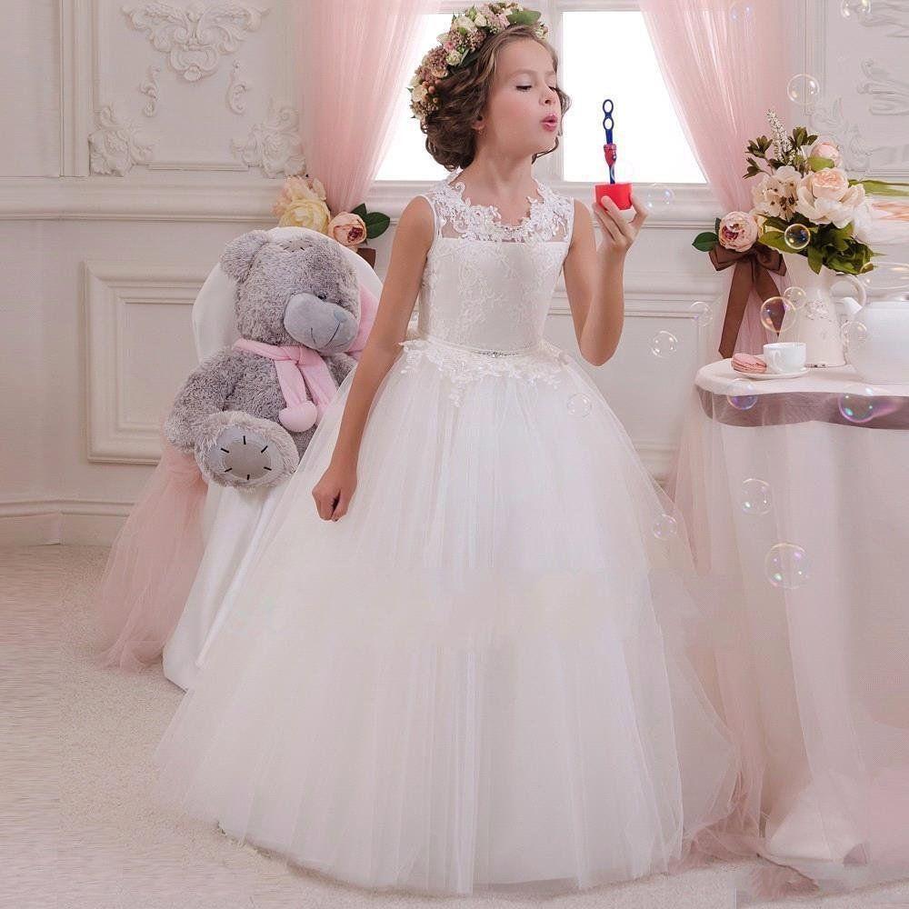 Hermoso de encaje de tul Appliqued las muchachas de flor vestidos de espalda abierta vestidos de fiesta de cumpleaños con Arcos Sash una línea de Chicas Niños Ropa Formal