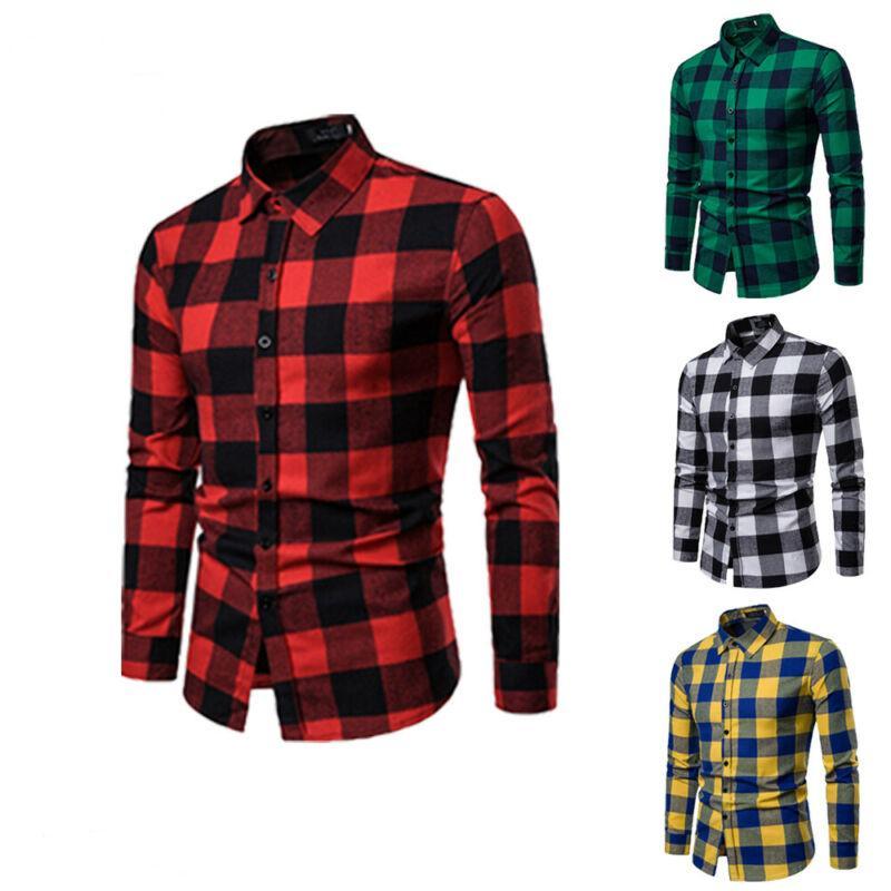 Ekose Gömlek 2020 Yeni Sonbahar Kış Fanila Kırmızı Damalı Gömlek Erkekler Gömlek Uzun Kollu Chemise Homme Pamuk Erkek Kontrol Gömlek