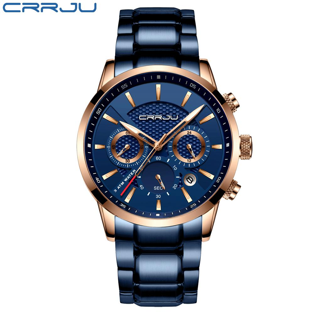 2021 Crrju Vente chaude Business Hommes Regarder la mode Blue Chronographe Simless Steel Bristwatch Casual Imperméable Clock Relogio Masculino