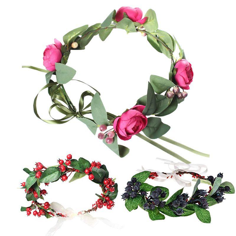 Corona de flores Anti-alergia Tamaño ajustable vendas para las mujeres niña fiesta de la bola de la boda festival de maternidad imagen Guirnalda del pelo Guirnalda 5 estilo