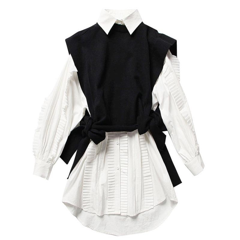 LANMREM 2019 новых женщин весной моды одежды вокруг шеи рукава вяжет жилет отложной воротник оборками однобортный платье WE12800M Y200110