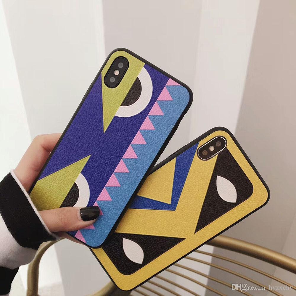 Moda Luxo engraçado olhos padrão do desenhista Phone Case para IPhone XS Max XR 7plus 8plus Marca Voltar Shell cobertura para IphoneX 8 7 6 6s Além disso, caso