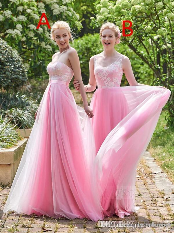 Barato uma linha Tulle Sweetheart cor-de-rosa rosa longa dama de honra vestidos diferentes estilos mesmo cor vestido de convidado de casamento mais tamanho 2019 vestido de festa