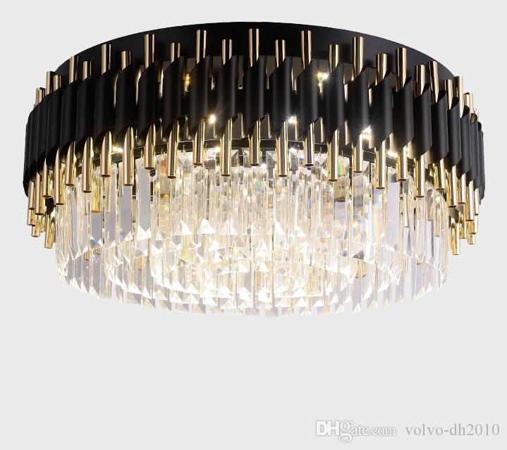 ترف الأسود الثريا أضواء مصابيح قلادة للسقف غرفة المعيشة الفاخرة كريستال الخفيفة لاعبا جولة LED الحديثة اللمعان دي كريستال LLFA