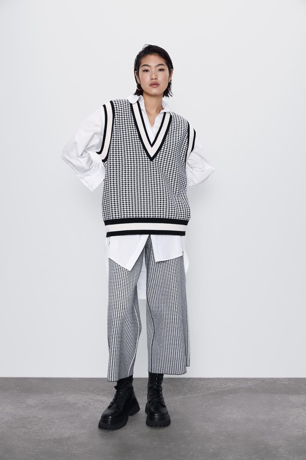 H5fYZ 19 Vest e inverno moda xadrez pássaro v-neck soltas de malha pullover Outono colete pullover para as mulheres 6873/135 6873135