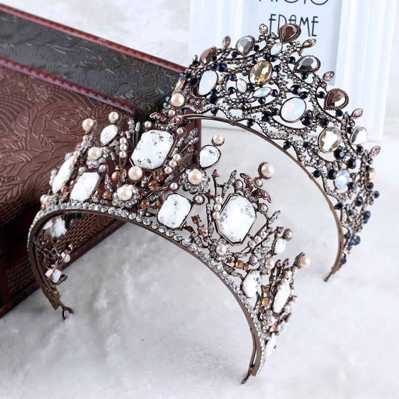 Gioielli perline di cristallo dell'oro dell'annata Tiara fascia Barocco Corona di cristallo strass diademi Corone Wedding Hair accessori nuziali T200522