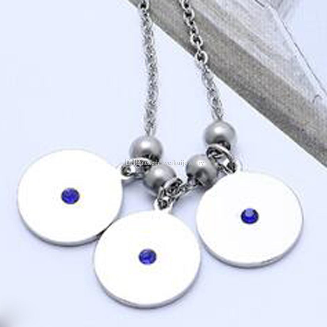 Edelstahl Frauen Einfache Halskette Blauen Kristall Runde Anhänger Valentines Geschenk Für Freundin Frau Freund Beste Geschenk