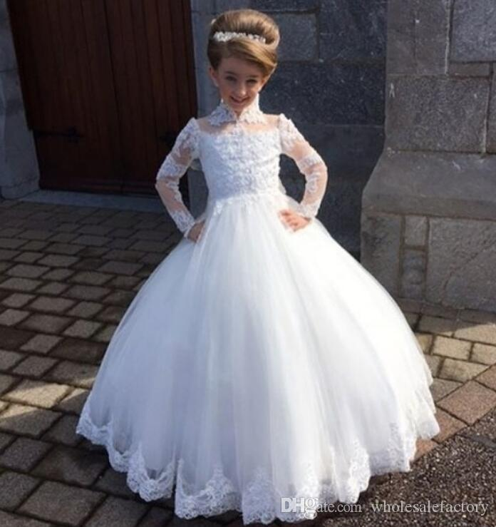 우아한 레이스 꽃 소녀 드레스 긴 소매 높은 목 얇은 명주 그물 아플리케 공주 볼 가운 생일 여자 대회 드레스