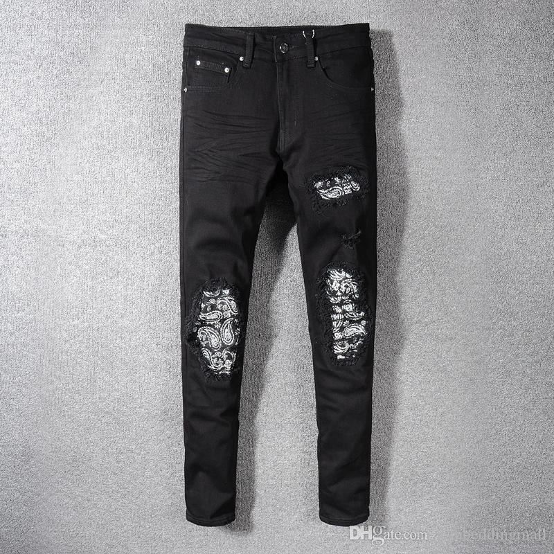 High Street Fashion Men Jeans Color Negro Diseño Patchwork Ripped Jeans Para Hombres Hip Hop Jeans homme Elástico Flaco