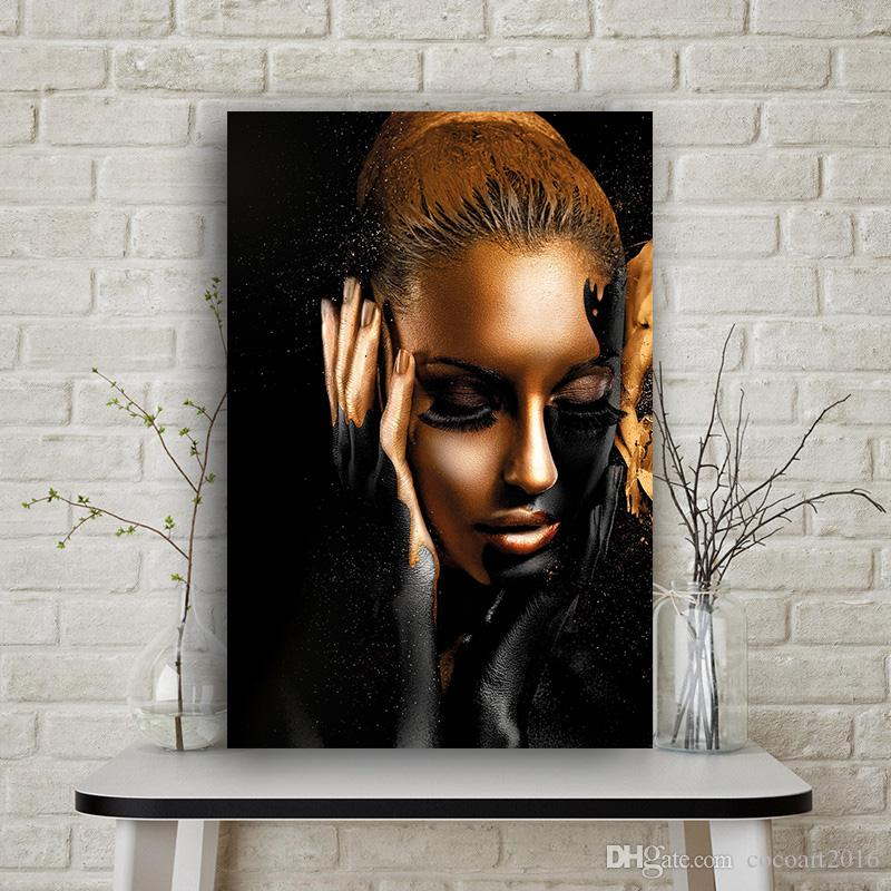 1 Pcs Black And Gold African Woman Oil Painting on Canvas Cuadros Posters and Prints Scandinavian Wall Picture for Living Room No Frame