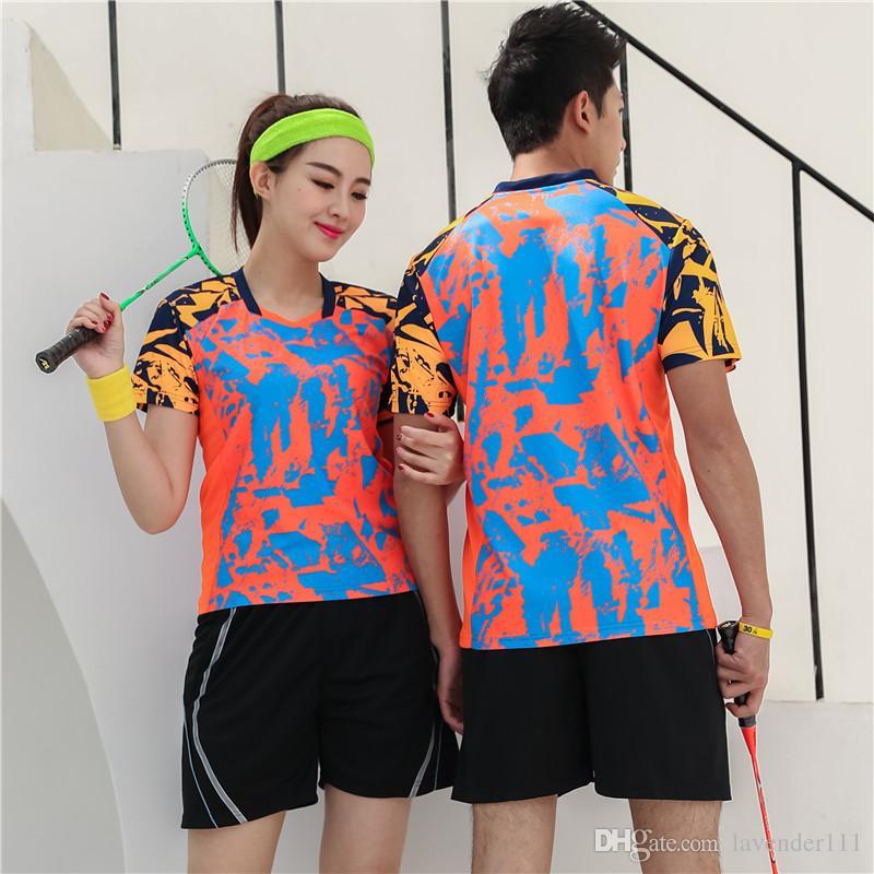 2019 badminton jersey sets men women breathable badminton training uniforms quick dry sports tennis sportswear clothes print
