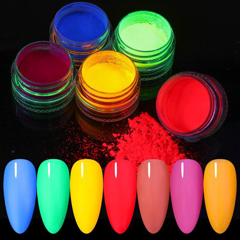 6 caixas prego Pó Set prego colorido Glitters pó fluorescente Arte Decorações néon Glitters