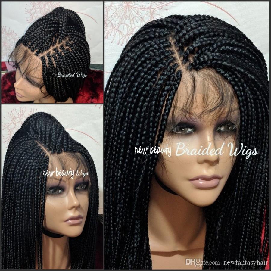 Atacado sintética barato trançado rendas frente perucas mão amarrada Box Braid Perucas com cabelo do bebê resistente ao calor para mulheres Africano-americanos