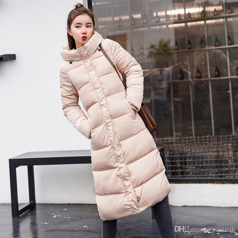 Kalınlaşmak Parka ceket Aşağı Coat Kadınlar Kış Uzun İnce Sıcak Ceket Pamuk yastıklı Dış Giyim Moda Coats Artı boyutu 3XL