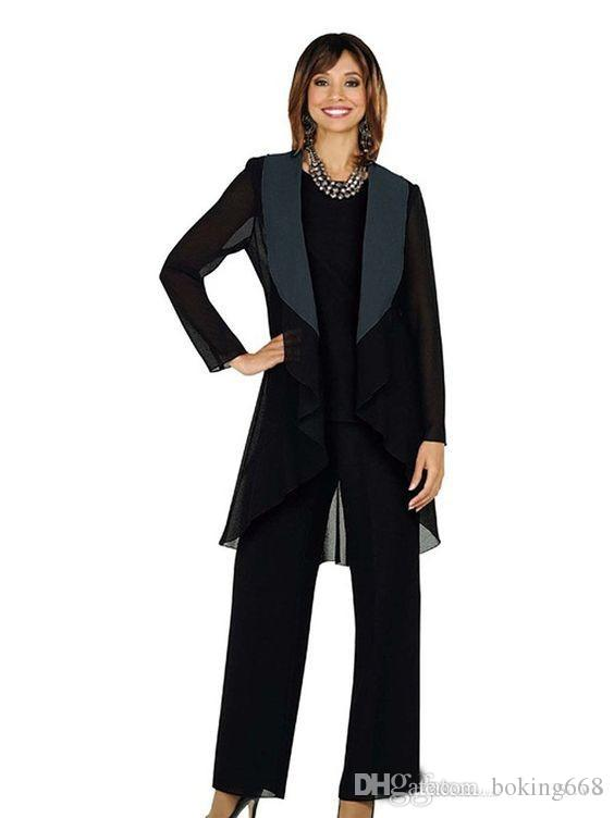 2020 Fashionable Black Chiffon Mother of the Bride Suits Plus Size Cheap Three Pieces Mother of Bride Groom Pant Suit for Wedding Pant Suit