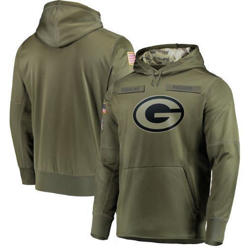 2018 رجال Green Bay Sweatshirt Packers يحيون الخدمة Sideline Therma Performance Pullover Hoodie Olive