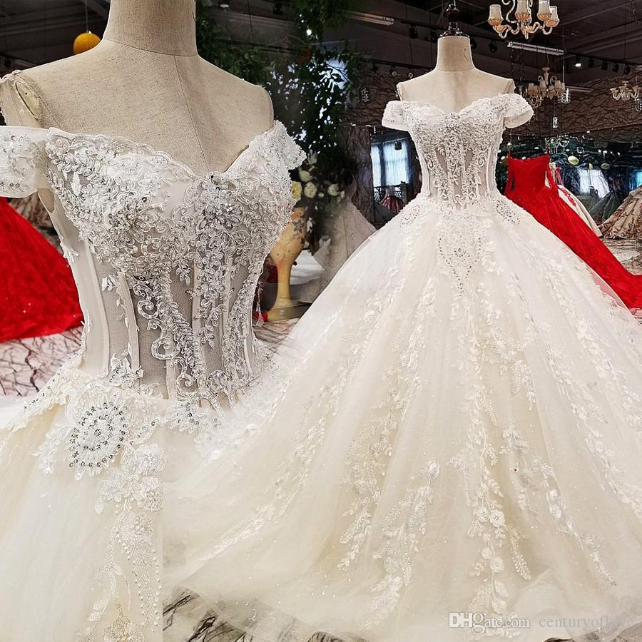 2019 nova noiva cristal ombro coreano de luxo fino vestido Magro Magro casamento cauda longa
