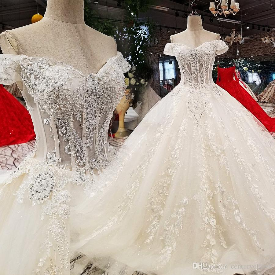 vestido de 2019 nuevo hombro cristal novia coreana delgada delgada de lujo delgado larga cola de boda