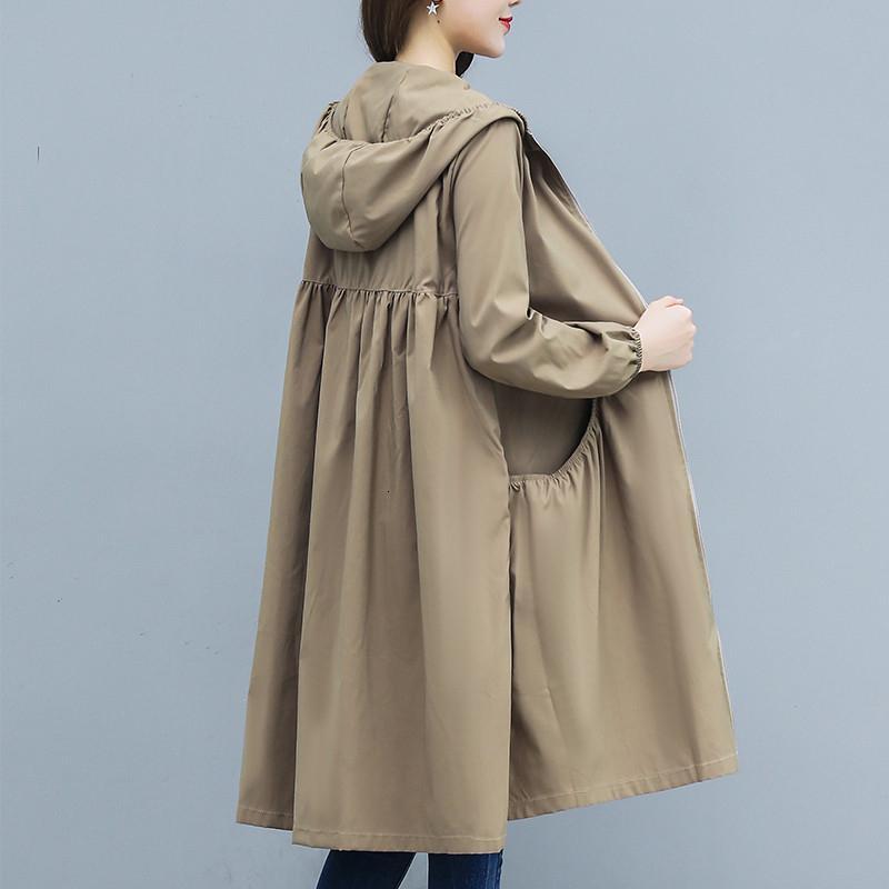 Nueva capa larga delgada capa de foso de las mujeres 2019 otoño del resorte de gran tamaño sueltos con capucha Mujer cazadora informal de vestir exteriores R863 V191111