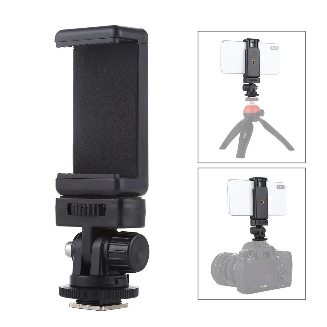 PULUZ 1/4 de polegada rosca Fria Shoe tripé adaptador de montagem com telefone da braçadeira