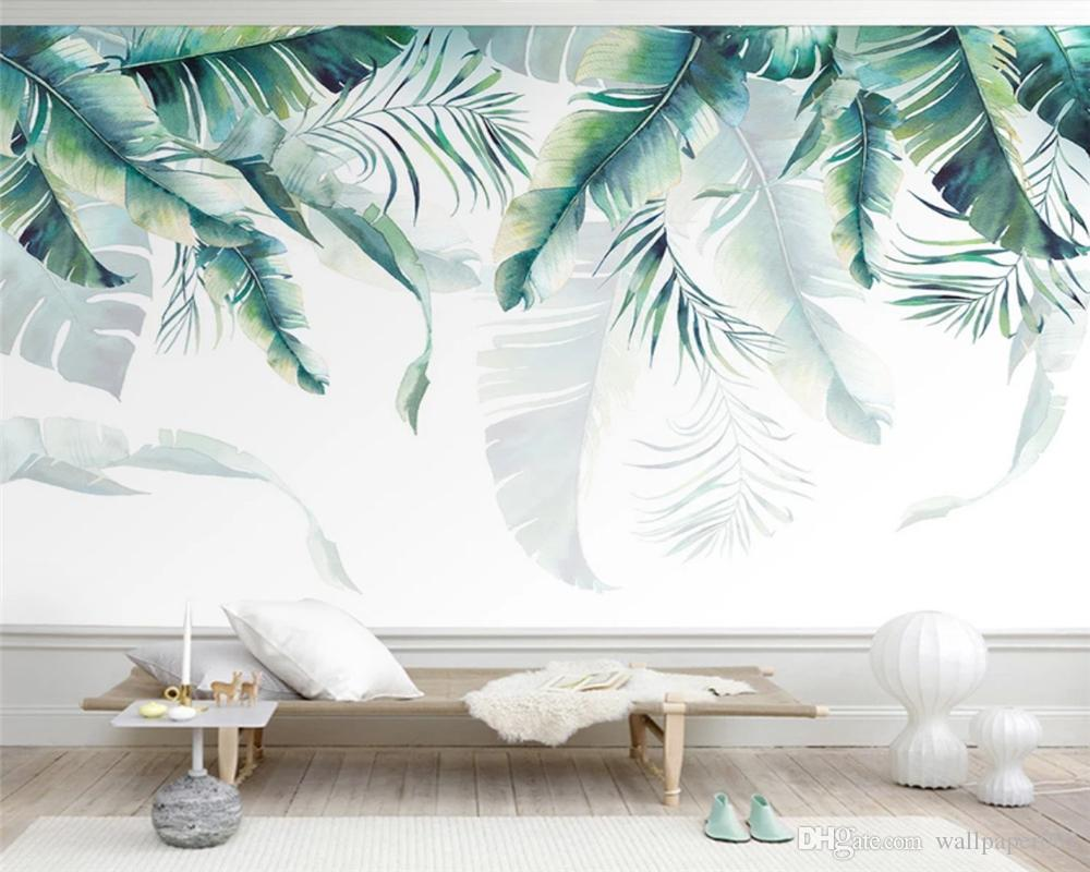 Customized modern wallpaper hand drawn Nordic small fresh tropical plants living room TV backgroundpapel de parede 3dwall papers home decor