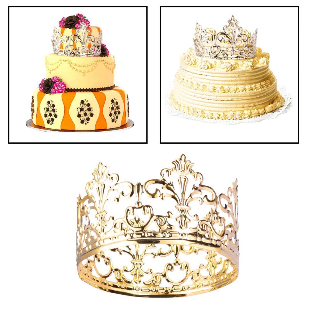 Тиара Корона ну вечеринку Украшение торта Корона Украшения для волос Свадебные принадлежности Аксессуары Торт Топпер Металлические украшения для вечеринок