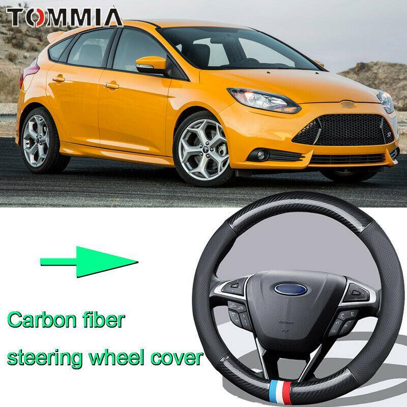 Car Non-slip black carbon fiber leather car steering wheel cover for Ford Focus
