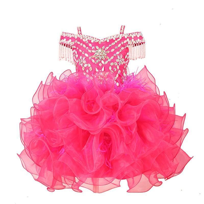 Blumenmädchen Kleid Mädchen Ballkleid Blumenmädchenkleider Rosa Farbe Perlen Organza Pageant Kleider für Kinder Party Kleid Erstkommunion