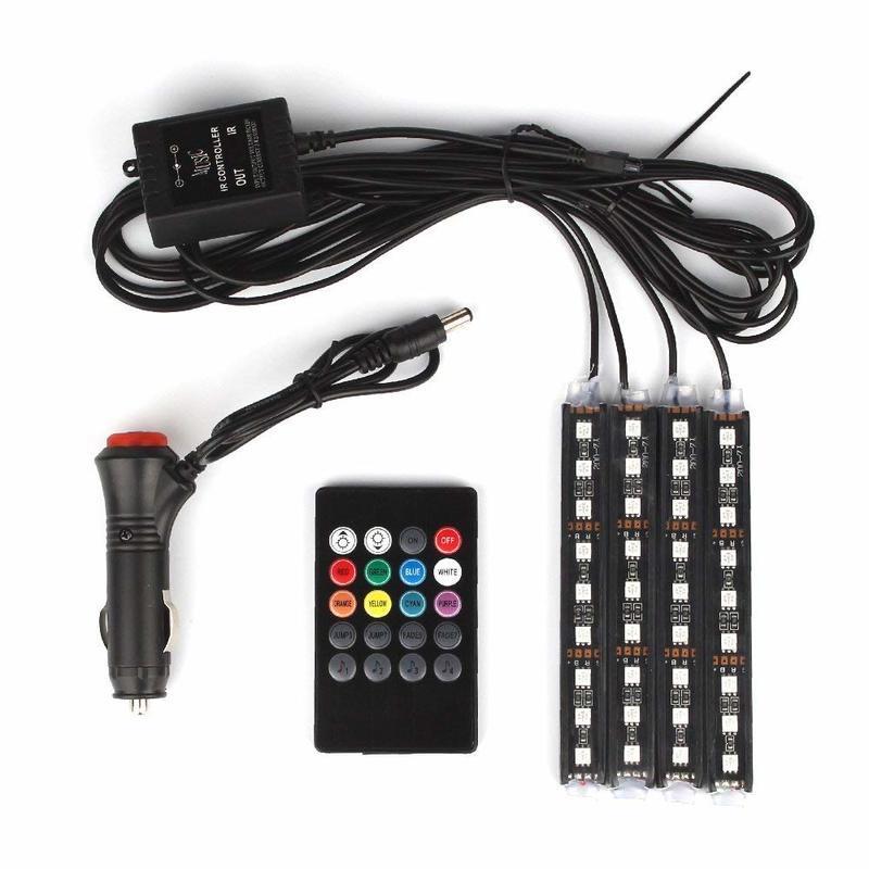 Car LED Strip Light 36 LED DC 12V Multicolor musique voiture Intérieur Lumière LED Sous Kit d'éclairage Dash avec son actif Functio