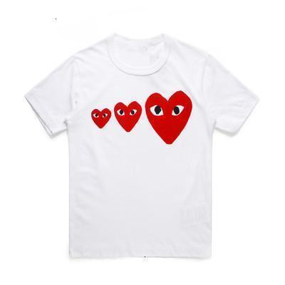 COM DES G GARCONS CDG HOLIDAY Heart Emoji PLAY Japanese brand embroidery Christmas peach limited edition T-shirt cotton short sleeved YWRF