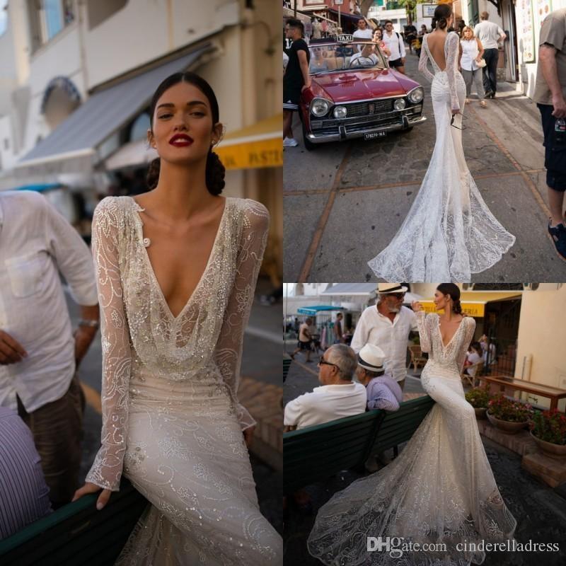 2020 مثير إنبال درور فستان الزفاف V الرقبة البراقة الرباط أثواب الزفاف حورية البحر طويل الأكمام عارية الذراعين شاطئ فستان الزفاف مخصص