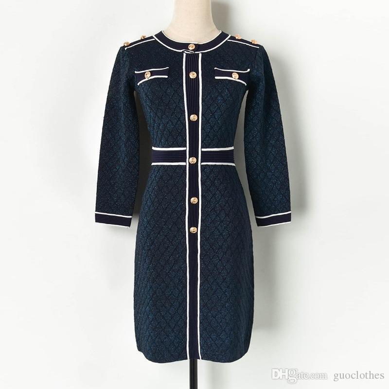 2020 Women designer Winter Skirt One Piece Long Sleeve Designer Dress piece dress High Quality Bodycon Dress Elegant Night Wear