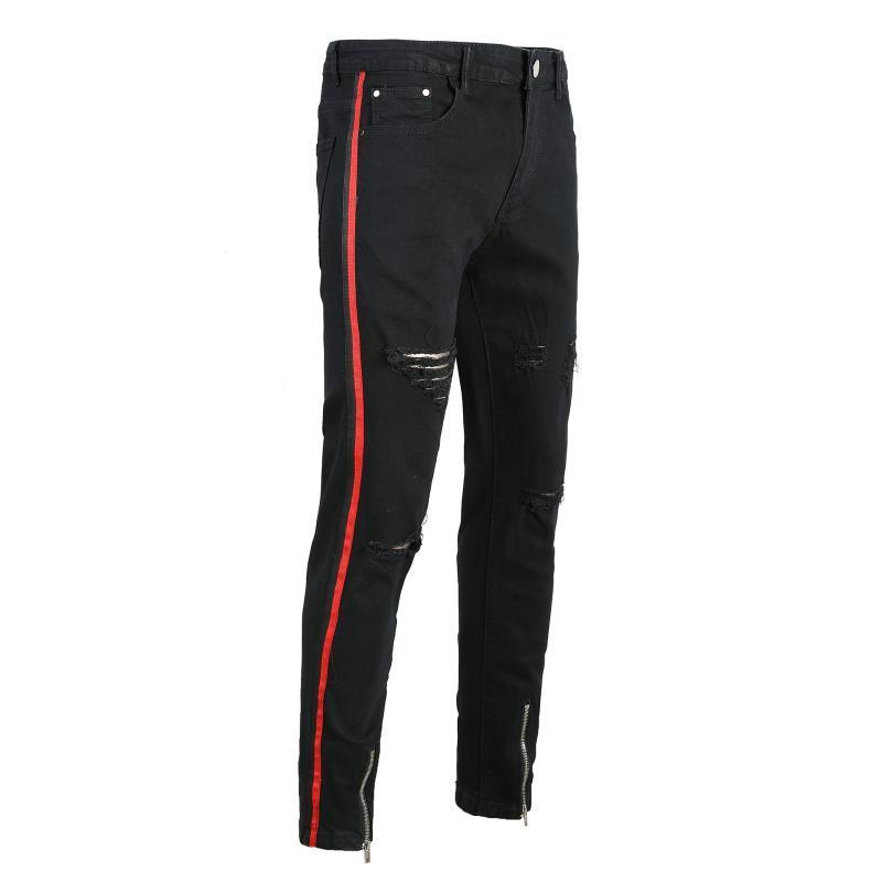 Мужские джинсы ленты черная дыра стрейч ZIP джинсовые брюки тонкие подходят брюки классический мужской дизайнер повседневная тощая