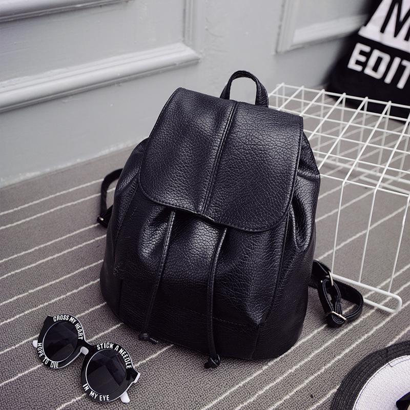 Saco fêmea 2020 nova moda coreana PU lavado bolsa de couro ocasional pequena dupla mulheres Backpack