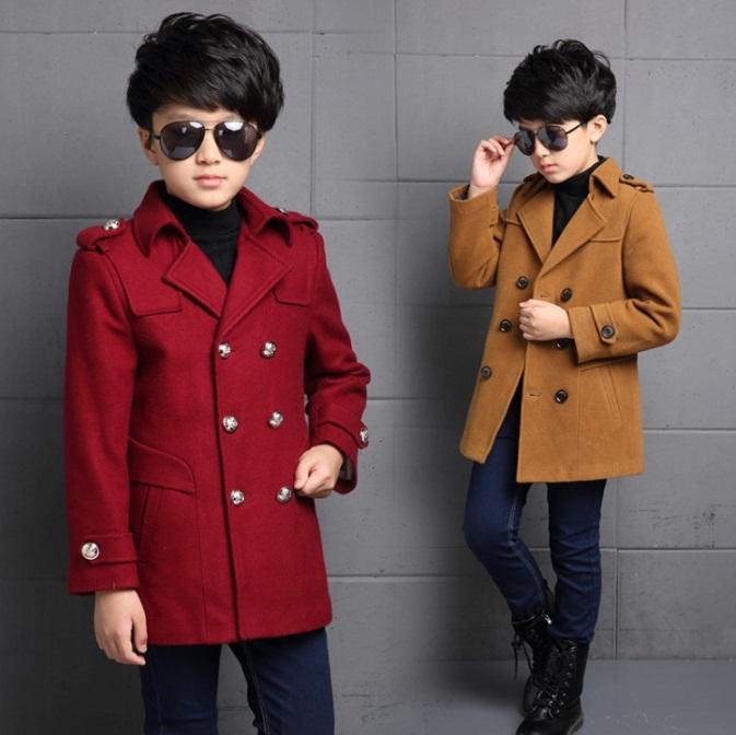 새로운 아이들의 옷 소년 모직 코트 가을 겨울 모직 자켓 어린이 두꺼운 따뜻한 트렌치가 칼라 학교 키즈 outwear
