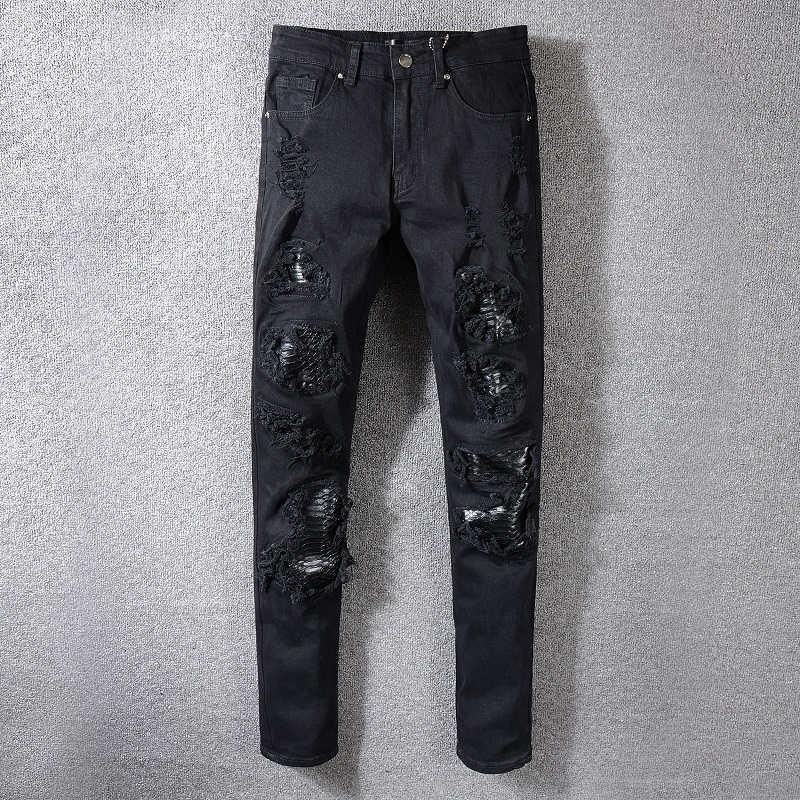 Mens Distressed Ripped Biker Jeans Slim Fit Motorcycle Biker Denim For Men Fashion Designer Hip Hop Mens Jeans top quality