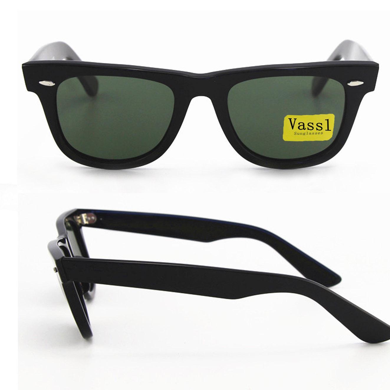 New summer Western Style Women Vassl Sunglasses Retro big angle Black frame green Plank Men Sun glasses 50mm len UV400 with box