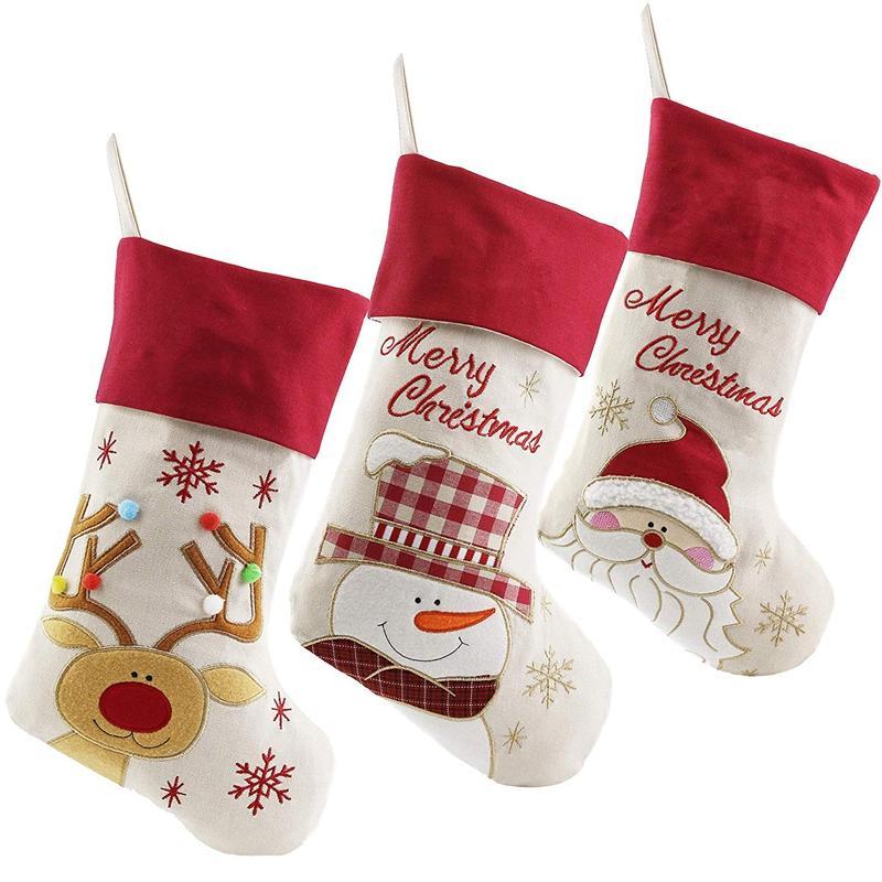 Hermosa Navidad Medias Conjunto de 3 Santa, muñeco de nieve, reno, el carácter de Navidad 3D felpa de lino colgantes etiqueta de punto de frontera