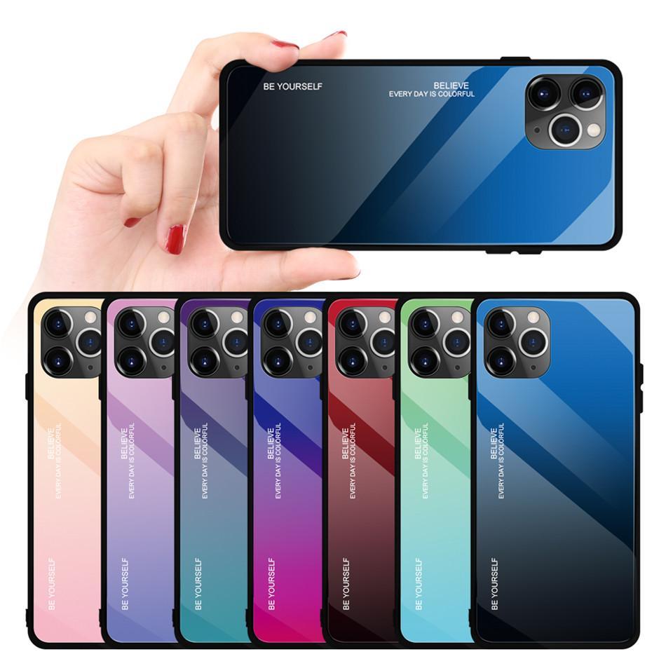 iPhone Para Gradiente vidro temperado Caixa do telefone do SE Capa Para 11 Pro Max Xs Max Xr X Luxo colorida do iPhone 7 8 Plus 6s 6