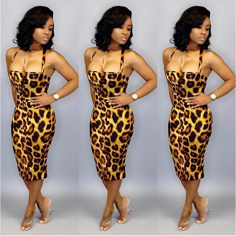 2020 Femmes Designer Casual Robes d'été Spaghetti Strap imprimé léopard dos nu Bandge Robe Sexy Femme Vêtements