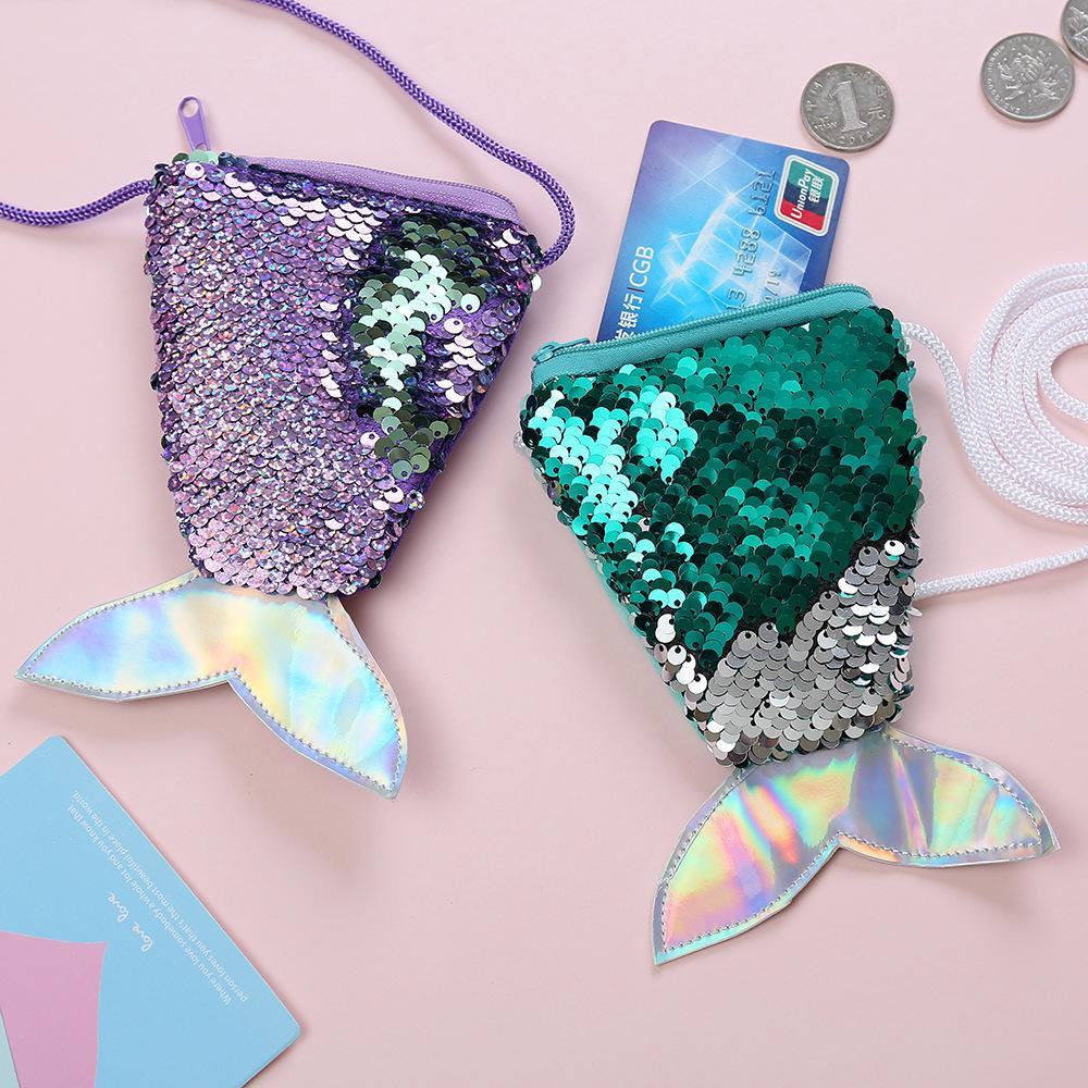 Frauen Pailletten Schmuck Tasche Mermaid Pailletten Geldbörse mit Lanyard Schöne Fisch-Form-Endstück-Münzen-Beutel-Beutel-beweglicher Glittler Wallet