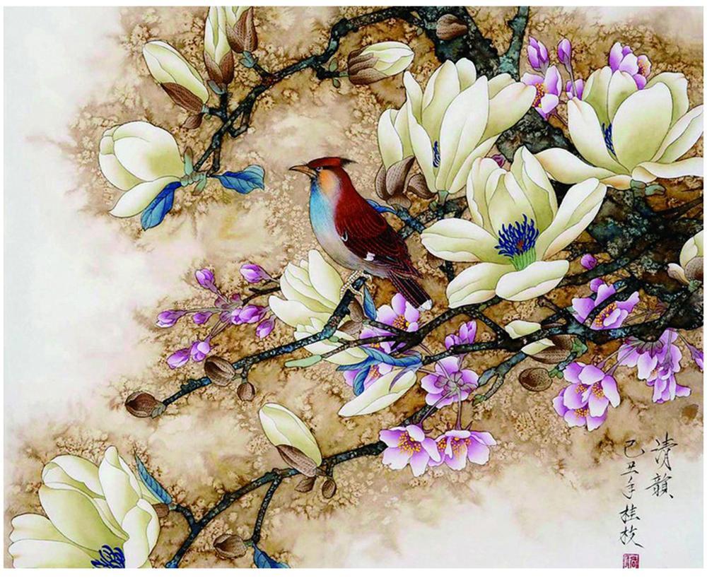"""Pintura de bricolaje por números Kits pintados a mano para adultos Pintura al óleo Magnolia, rima, flores y pájaros 16 """"x20"""""""