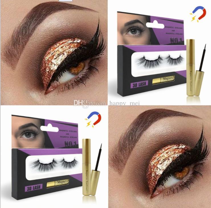 Бесплатная доставка ePacket Magnetic Liquid Eyeliner Магнитные Ресницы Набор из пяти магнитных норка Ложные Ресницы Клей Free Глаза Макияж Инструменты