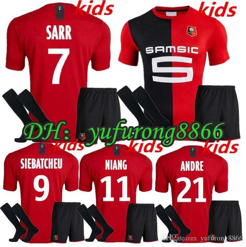 19 20 Stade Rennais enfants Kit Accueil Football jerseys19 / 20 Rennes # 7 # 11 Sarr Niang # 14 BOURIGEAUD # 21 # 23 Andre maillot de football Hunou