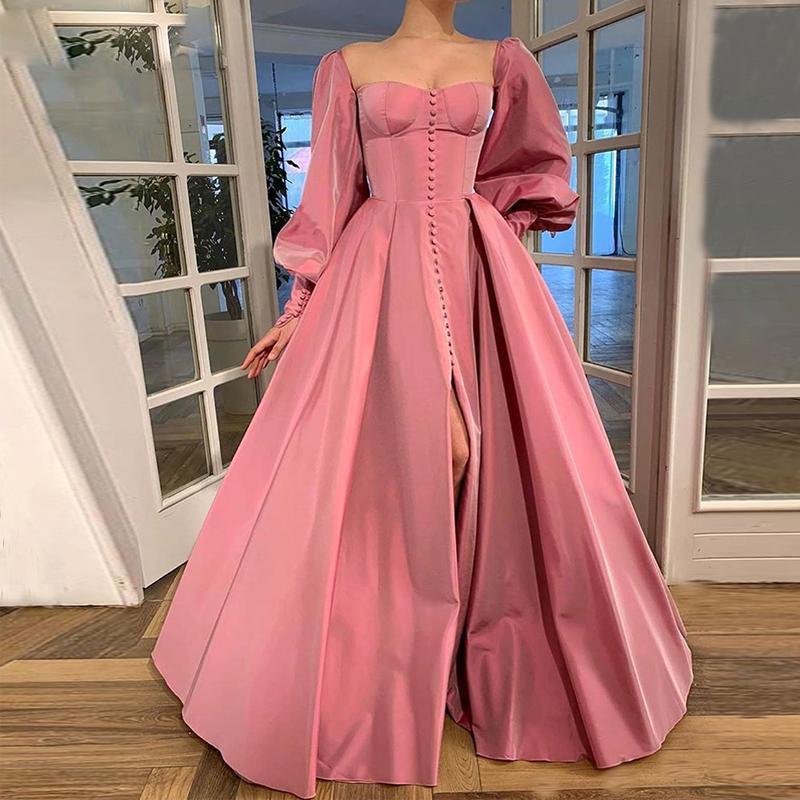 Prom avant divisée sexy robes à encolure carrée manches longues modeste Dubaï arabe Parti formel robe longue soirée Jupes